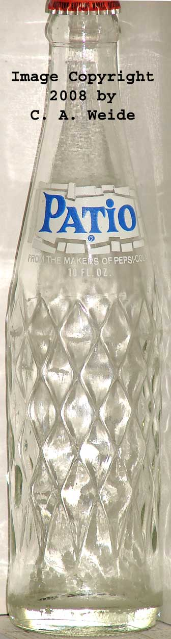 BLUE AND WHITE SILKSCREENED CLEAR GLASS EMBOSSED DIAMONDS 09 3/4 1974 PEPSI COLA  NONE LISTED NONE ?????? PATIO FROM THE MAKERS OF PEPSI COLA 45070597 9.6 ...
